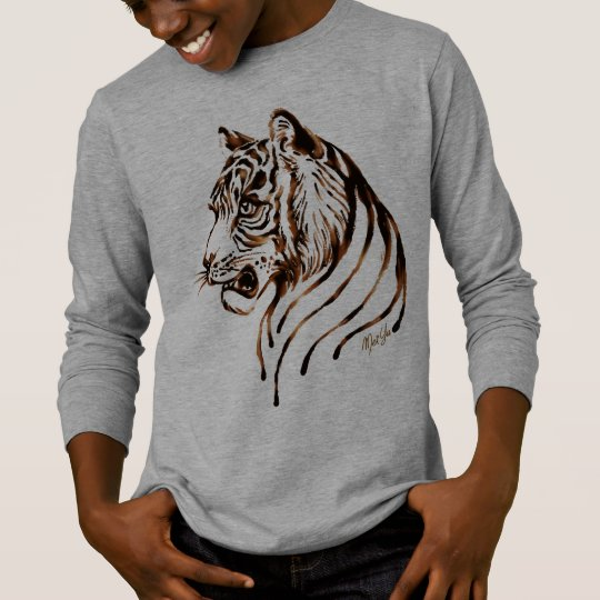Hand Painted Chocolate Tiger Art Kid's Long Sleeve T-Shirt