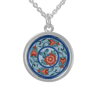 Hand Painted Colorful Islamic Tile Round Pendant Necklace