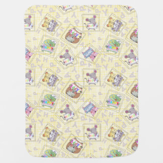 Hand painted cute animals baby blanket