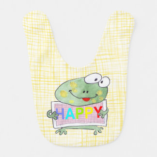 hand painted cute Frog holding a HAPPY sign board Bib