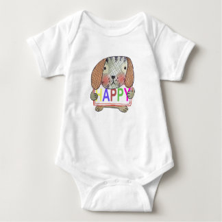 hand painted dog with a HAPPY sign Baby Bodysuit