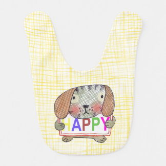 hand painted dog with a HAPPY sign Bib