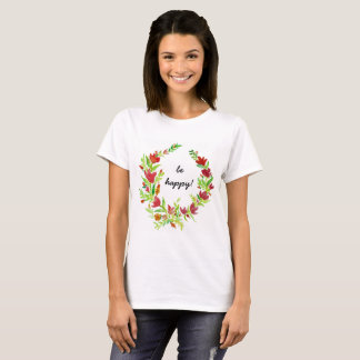 Hand-painted Flora Wreath with Text T-Shirt
