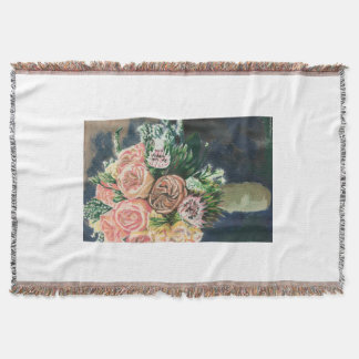 Hand Painted Floral Bouquet Throw Blanket