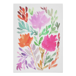 hand painted flowers1 poster
