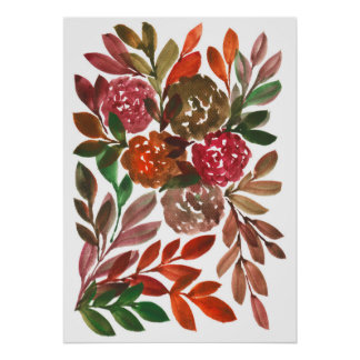 hand painted flowers1c poster