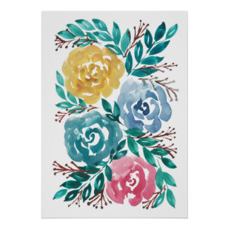 hand painted flowers2a poster