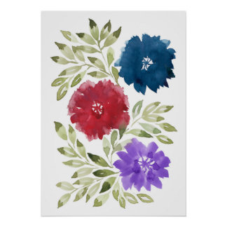 hand painted flowers2d poster
