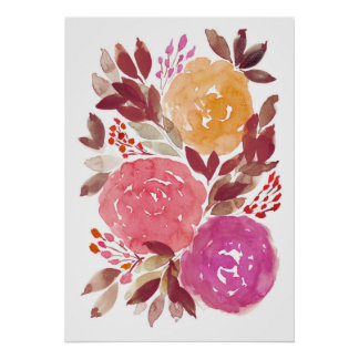 hand painted flowers 3c poster