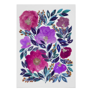 hand painted flowers 3d poster