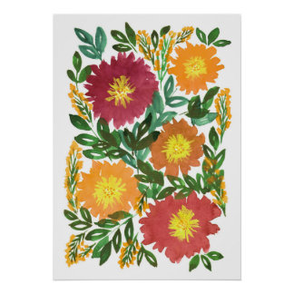 hand painted flowers 3e poster
