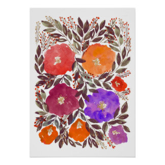 hand painted flowers 3f poster