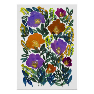 hand painted flowers 3g poster