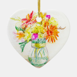 Hand painted flowers ceramic heart decoration