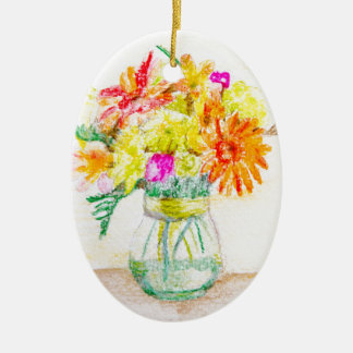Hand painted flowers ceramic oval decoration