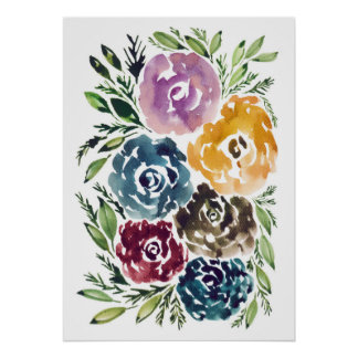 hand painted flowers poster