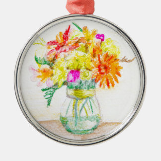 Hand painted flowers Silver-Colored round decoration