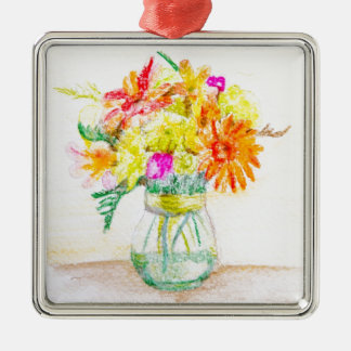 Hand painted flowers Silver-Colored square decoration