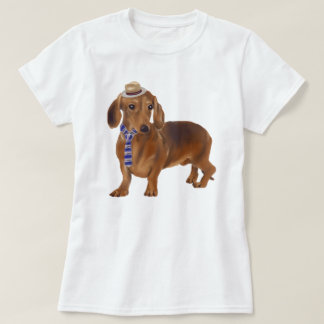Hand-painted Hipster Dachshund Dog T-Shirt