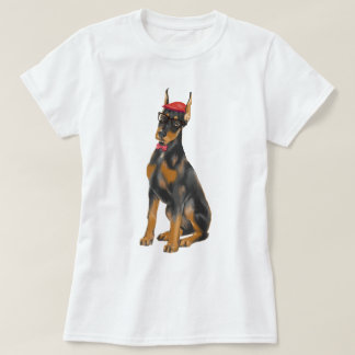 Hand-painted Hipster Doberman Pinscher Dog T-Shirt