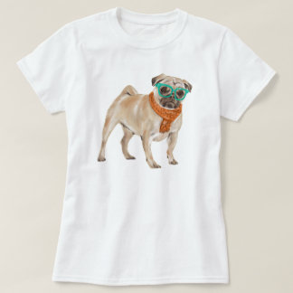Hand-painted Hipster Frenchie Pug Bulldog T-Shirt