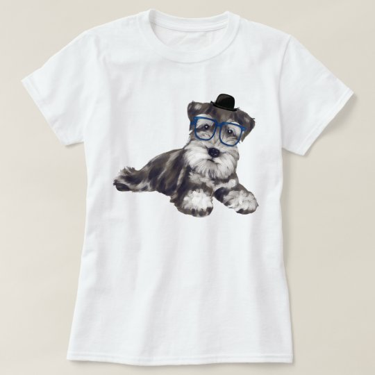Hand-painted Hipster Schnauzer Puppy Dog T-Shirt