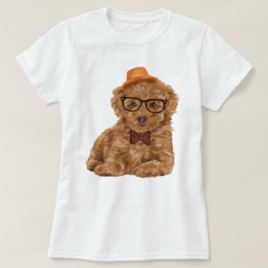 Hand-painted Hipster Toy Poodle Puppy Dog T-Shirt