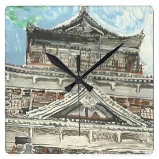 Hand Painted Hiroshima Castle Japan Square Clock
