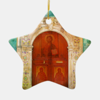 Hand Painted Jesus Christ Icon Door Greek Orthodox Christmas Ornament