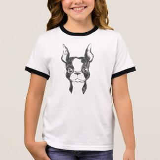 Hand Painted Ketchup Art Dog Girl's Ringer Shirt