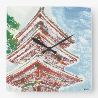 Hand Painted Kyoto Temple Japan Square Clock