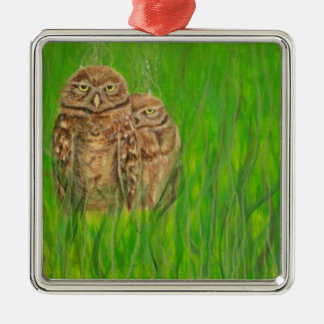 Hand painted owls with an attitude Silver-Colored square decoration