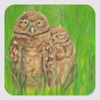 Hand painted owls with an attitude square sticker