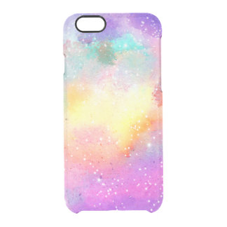 Hand painted pastel watercolor nebula galaxy stars clear iPhone 6/6S case