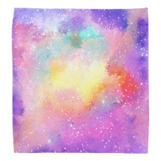 Hand painted pastel watercolor nebula galaxy stars head kerchief