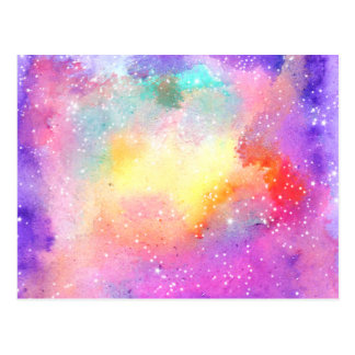 Hand painted pastel watercolor nebula galaxy stars postcard