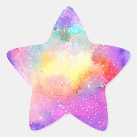 Hand painted pastel watercolor nebula galaxy stars star