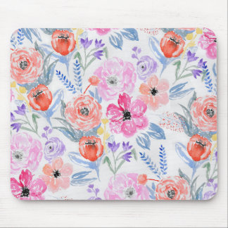 Hand painted pink coral watercolor flowers mouse mat