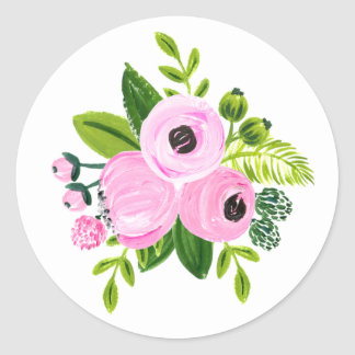 Hand painted pink floral round sticker