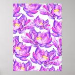Hand painted pink purple watercolor lotus flowers poster