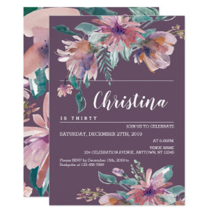 Hand Painted Purple Floral Grandma Birthday Party Invitation
