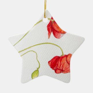 Hand painted red poppies flowers christmas ornament