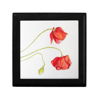 Hand painted red poppies flowers trinket boxes