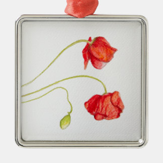 Hand painted red poppies flowers Silver-Colored square decoration
