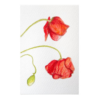 Hand painted red poppies flowers stationery