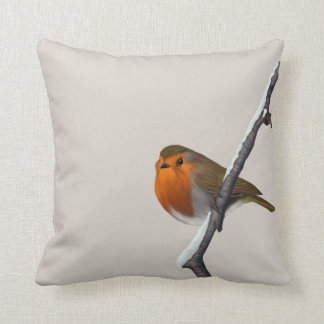 Hand Painted Red Robin Square Pillow