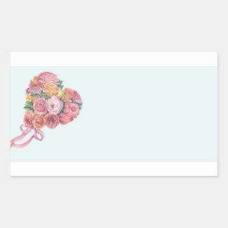 hand painted rose bouquet custom wedding rectangular sticker