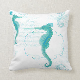 Hand Painted Seahorse Vintage Handwriting Scrolls Cushion
