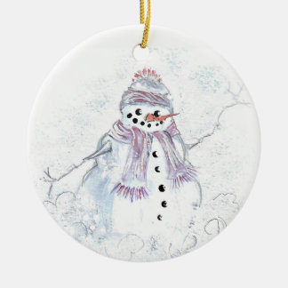 Hand Painted Snowman Ceramic Christmas Ornament