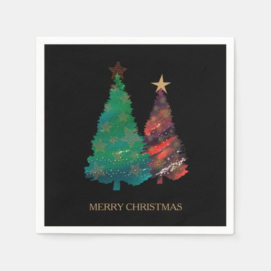 Hand Painted Sparkly Watercolor Christmas Tree Disposable Napkins